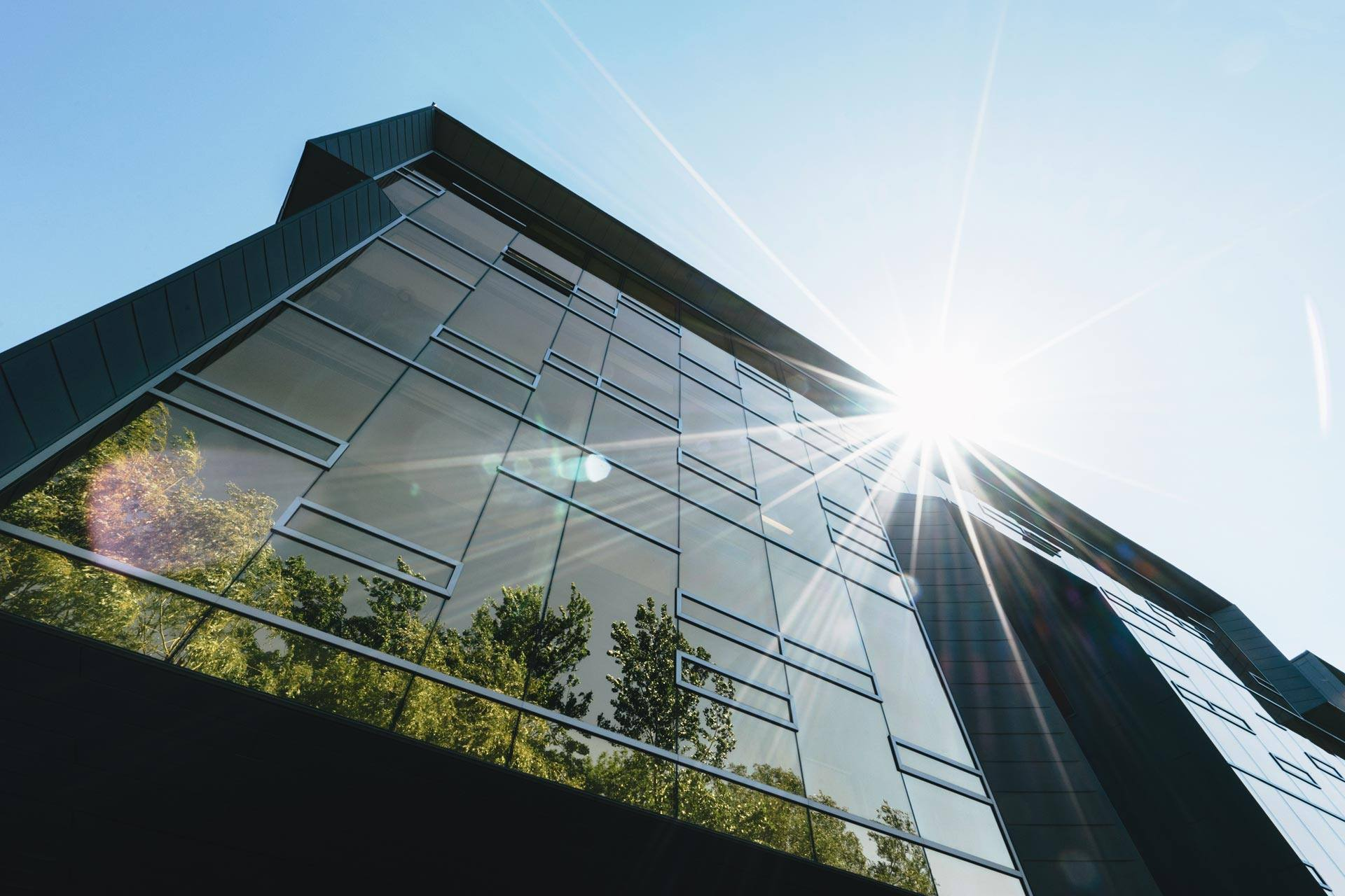 modern office building with trees reflected in glass windows and sun peaking over roof